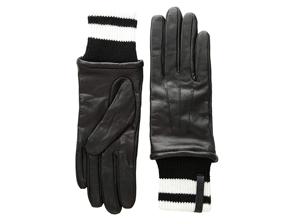 Calvin Klein Leather Gloves w/ Striped Knit Cuff (Black) Extreme Cold Weather Gloves