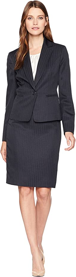 Shadow Stripe One-Button Notch Lapel Skirt Suit w/ Cami