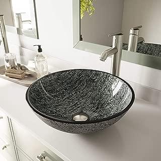 VIGO VG07050 Glass Above counter Round Bathroom Sink, 16.5 x 16.5 x 6 inches, Black And Silver / Titanium