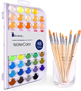 Watercolor Cake Set, 48 Watercolor Paint Set and 12 Paint Brushes. This Watercolors Set are Great for Children/Kids. The P...