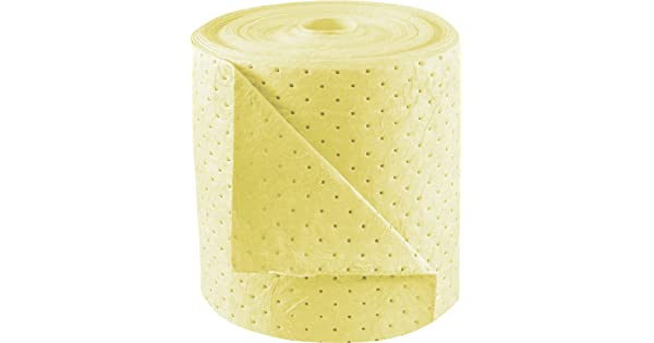 38 gal Absorbency Heavy Weight Sorbent Products Company BRH152 Brady SPC Basic Chemical Absorbent Rolls Polypropylene 1800 Length 15 Wide 0.25 Height Yellow