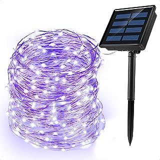 Ankway Cadena Luces Solares, 200 LED 8 Modos 72ft/22M Guirnalda Luces IP65 Impermeable para Interior/Exterior para Decoración del Jardín Fiesta, Morado