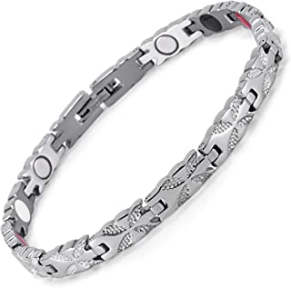 HZX Lifestyle Stainless Steel Magnetic Therapy Bracelet for Women Pain Relief for Arthritis and Carpal Tunnel Magnets far Infrared Germanium Negative Ion Womens Bracelet