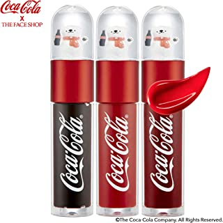 [THEFACESHOP] Lip Tint, [Coca-Cola LIMITED EDITION] Lip Stain Gloss Sparkling Color That Last Longer Than Normal Lipstick - Fizzy Brown (3.5 g / 1.2 oz)