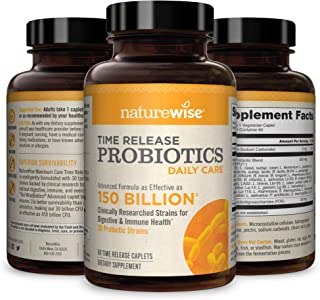 NatureWise Daily Probiotics for Women and Men | Time-Release, Comparable to 150 Billion CFU | Delivers 15x More Live Cultu...