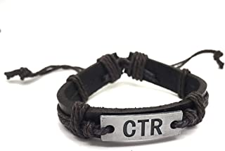 Genuine Leather CTR Bracelet - Hand stamped CTR Metal Plate