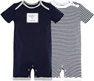 Baby Boys Short Sleeve Rompers, 100% Organic Cotton One-Piece Jumpsuit Coverall