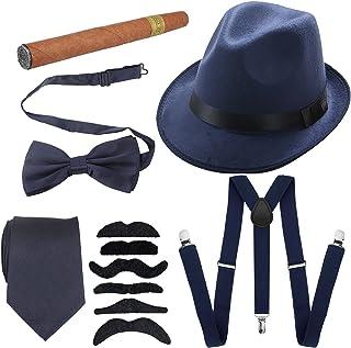 إكسسوارات للرجال من العشرينيات قبعة بنما مصنوعة من نسيج اللباد الصلب، لون أزرق داكن، مقاس واحد