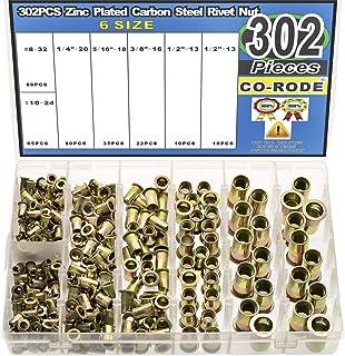 1//4-20 10-24 CO-RODE 165pcs 8-32 5//16-18 1//2-13UNC Carbon Steel Flat Head Rivet Nuts Rivnut Threaded Insert Nutsert Assortment Kit 3//8-16