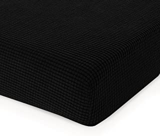 CHUN YI Jacquard Cushion Covers High Stretch Loveseat Slipcover Furniture Protector for Sofa Settee and Couch Seat Coat(Chair, Black),