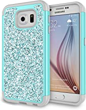 Galaxy S6 Case, Samsung S6 Case for Girls, Jeylly Glitter Luxury Crystal Dual Layer Shockproof Hard PC Soft TPU Inner Protector Case Cover for Samsung Galaxy S6 S VI G9200 - Turquoise