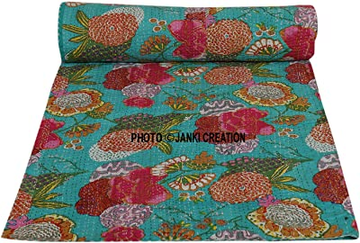 Marubhumi Indian Cotton Kantha Quilt Bedspread Twin Size Floral Print Kantha Quilts, Bedspreads & Coverlets