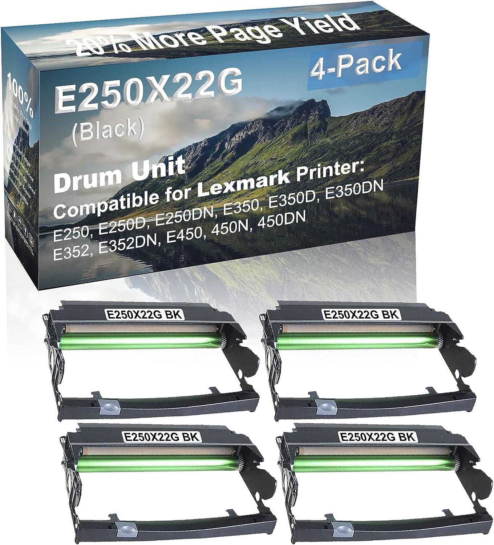 4-Pack (Black) Compatible E350D, E350DN, E352 Printer Drum Unit Replacement for Lexmark E250X22G Drum Kit