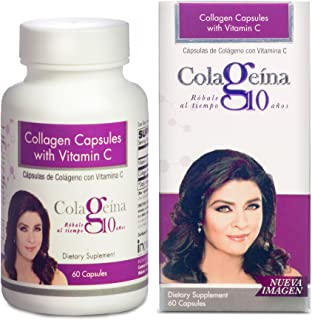 COLAGEINA 10 Collagen Capsules with Vitamin C, for a Younger Look, Healthier Hair and Stronger Nails. Improves Elasticity of The Skin and Repair Joints. Reduce The Signs of Aging.