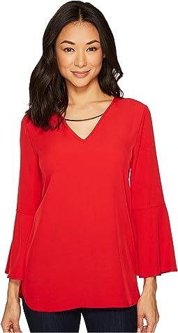 Calvin Klein - Bell Sleeve V-Neck Blouse w/ Hardware