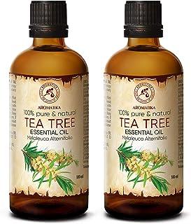 Tea Tree Eterisk Olja 2*100 ml - Melaleuca Alternifolia Bladolja - Australisk - Aromaterapi - Eteriska Oljor - 100% Ren & ...
