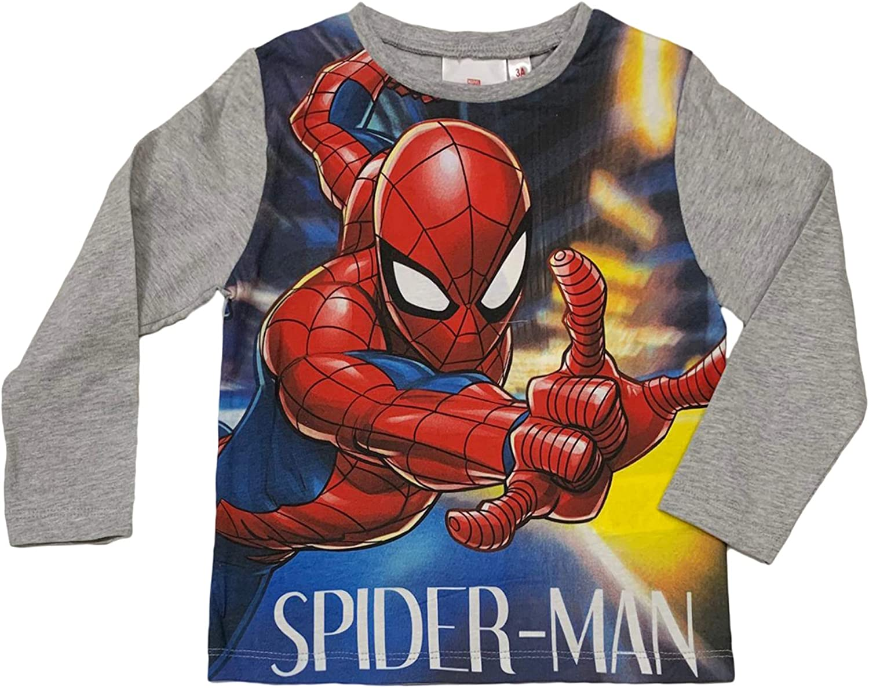 Marvel Maglietta Maniche Lunghe Bambino Ufficiale Spiderman Originale 3330