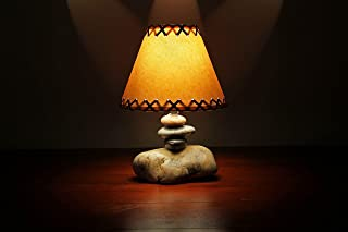 Rustic Cabin/Lodge Style Lamp.The Clearwater Small Stone Lamp w/Parchment Shade