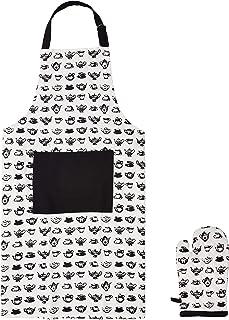 Amazon Brand - Solimo 100% Cotton 5 Piece Kitchen Apron, Oven Glove, Pot Holder and Towel Set, Teapots (White)