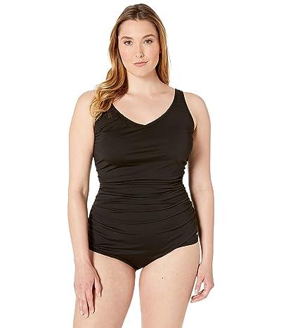 Speedo Plus Size Side Shirred Tank One Piece (Black) Women