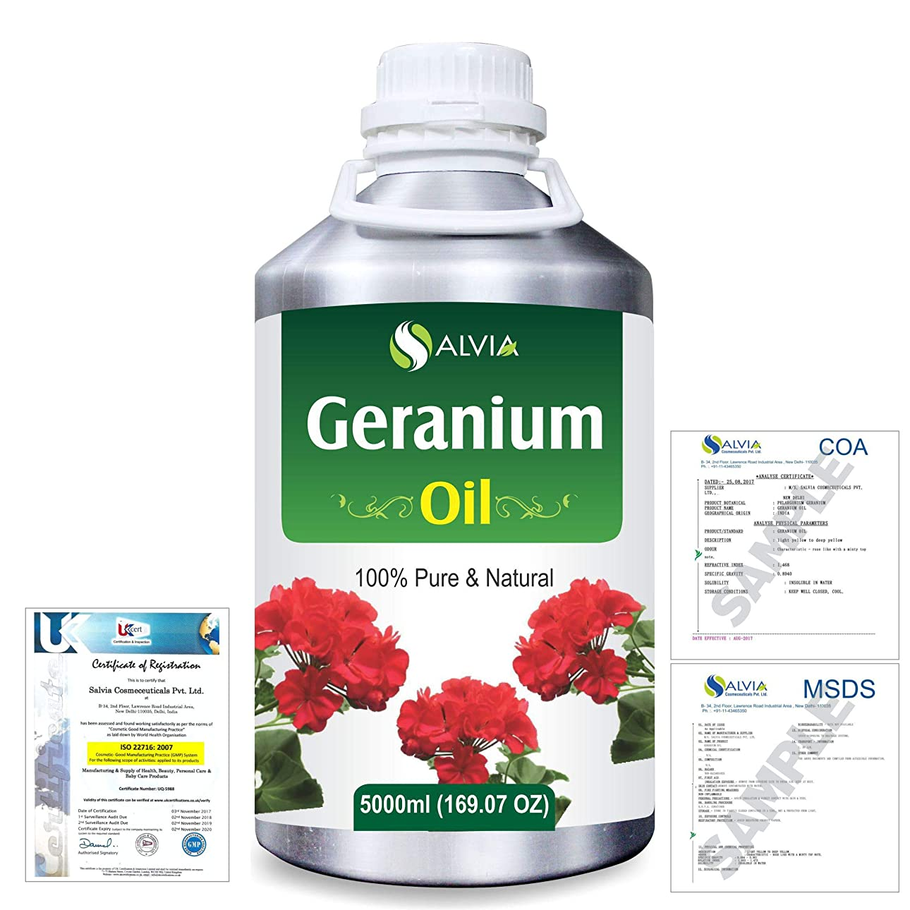 考古学ギネス埋め込むGeranium (Pelargonium Geranium) 100% Natural Pure Essential Oil 5000ml/169fl.oz.