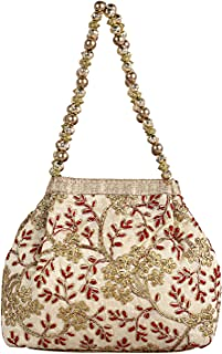 Kuber Industries Polyester Embroidered Woman Potli Bag, Cream (CTKTC4386)