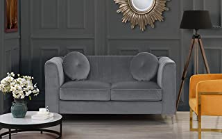 Classic and Traditional Living Room Marilyn Velvet Loveseat with Tufted Accent Pillows (Grey)
