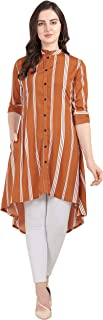 Serein Crepe Orange Striped Up-Down Button Front Mandarin Collar Tunic Dress with 3/4 Fold-up Sleeves and Side Pocket for Women.