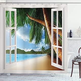 Beach Shower Curtain, Nautical Theme Window View of Palm Trees on Sand Beach Photo Landscape Image, Cloth Fabric Bathroom Decor Set with Hooks, 70