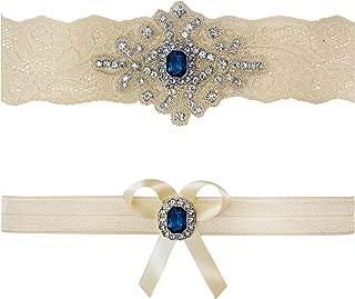 Ivory Sapphire Blue Wedding Bridal Lace Garter Set Keepsake Toss Tradition Vintage