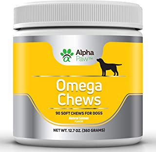 Alpha Paw Omega 3 6 9 for Dogs - Dog Omega 3 Supplement with Salmon, Salmon Oil, DHA, Flaxseed, Biotin - Dog Skin and Coat Supplements- Allergy, Immune, Hip and Joint - 360 grams Approx. 90 Soft Chews