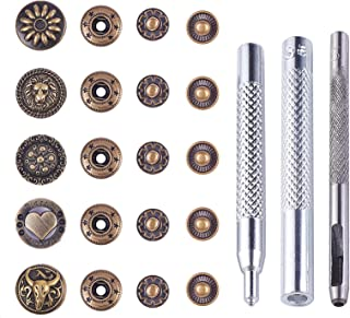 PH PandaHall 30 Set Leather Snap Fasteners Kit, 0.66inch Metal Button Snaps Press Studs with Eyelets Installation Tools, A...