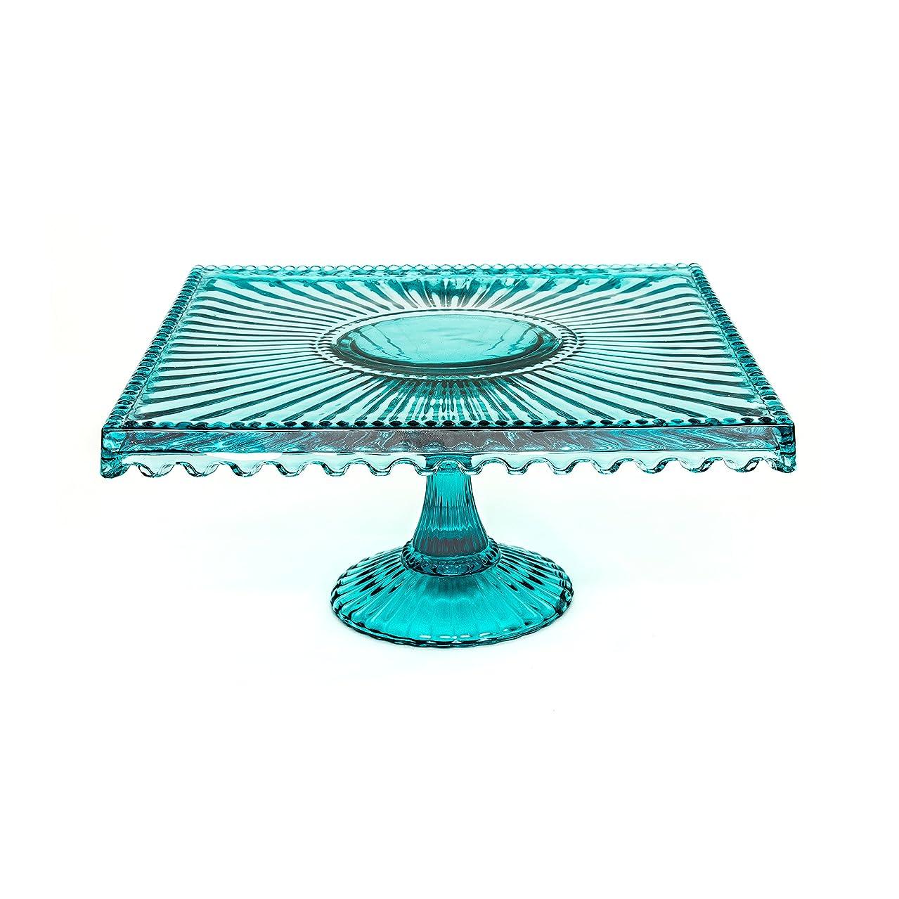 Alexandra Glass Square 10 inch Cake Stand - Blue