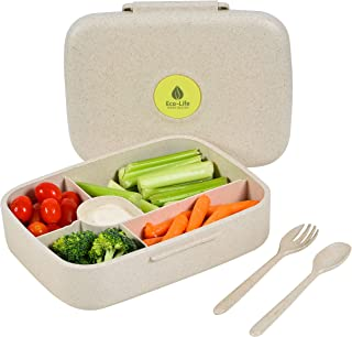 Bento Box - Eco Friendly, Leakproof Bento Lunch Box. Five Compartment, Wheat Fiber Bento Box for Kids and Adults. Microwav...