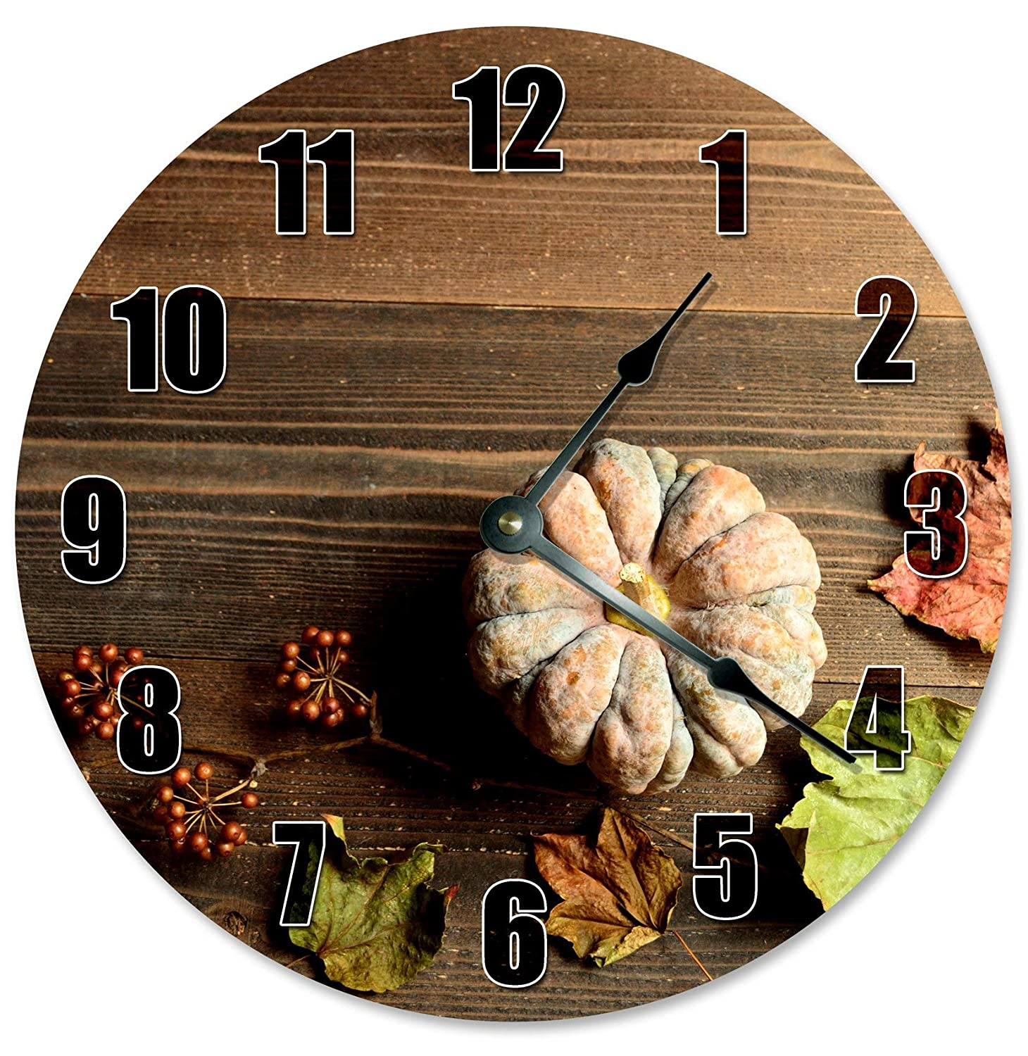 Sugar Vine Art Pumpkin On Wood Round Ticking Quality inspection New color Silent Battery Non