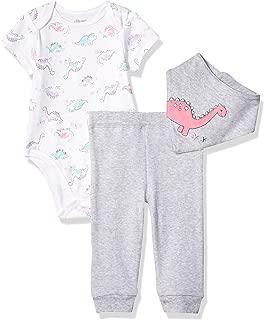Little Me Baby Girl's 3 Piece Bandana Bib Pant Set Pants, Grey