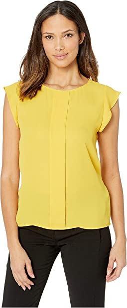 Cap Sleeve Pleat Front Blouse