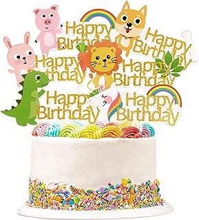 Unimall 6PCS Animals Happy Birthday Cake Topper, Cute Unicorn Lion Dinosaur Pig Rabbit Dog, Rainbow Leaf Bone Carrot Gold ...