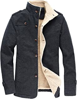 Men's Military Button Front Sherpa Lined Heavyweight Trucker Jacket
