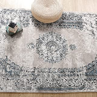 LNC A034492 Distressed 8' x 10' Medallion Indoor Vintage Abstract Non Slip Coastal Style Area Rug, 8'x10', A03449