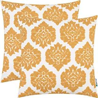 HWY 50 Yellow Embroidered Decorative Throw Pillows Covers Set Cushion Cases for Couch Sofa Living Room 18 x 18 inch Simple Geometric Floral Pack of 2