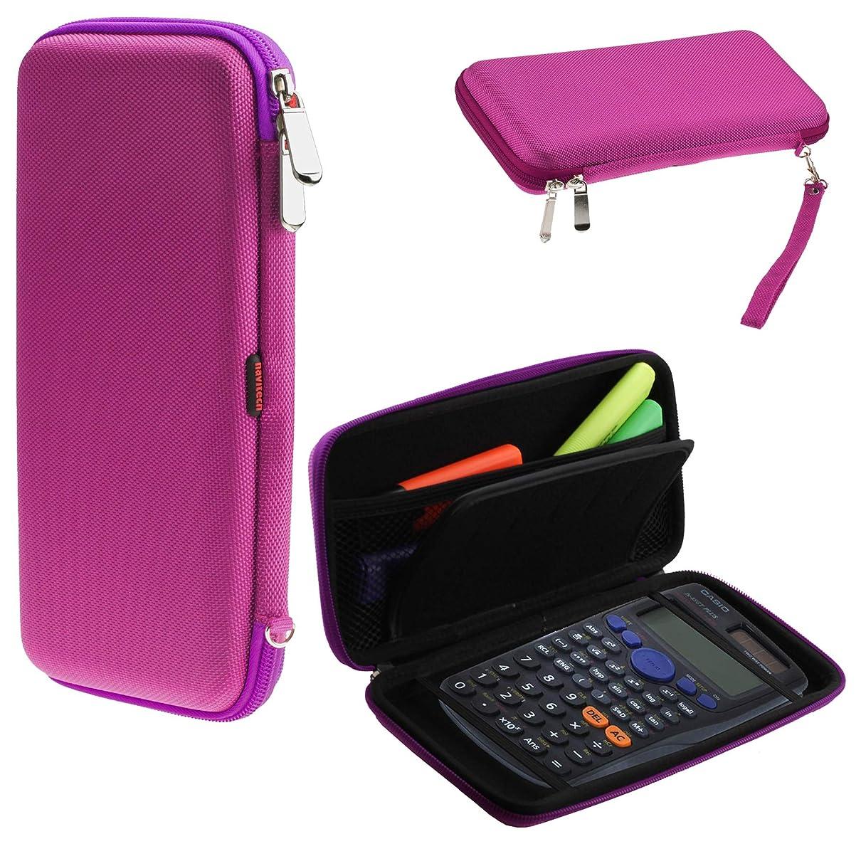 強い聴くピケNavitech パープル グラフィック 電卓 ハードケース/カバー 収納ポーチ付き Texas Instruments HP 50Gに対応
