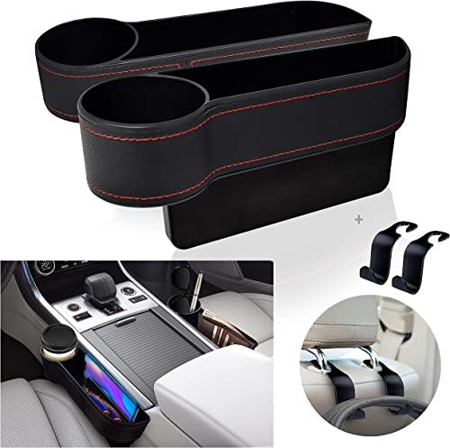 popular EcoNour Car Seat Gap Filler with Cup Holder (2 Pack) | Car Organizer new arrival Front Seat with Headrest Hooks | wholesale Handcrafted PU Leather Car Organizer with Extra Pad | Pocket Organizer Car Storage Accessories outlet online sale