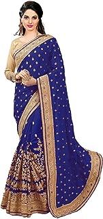 Women's Dhupion Silk & Net Half N Half Real Diamond With Embroidery Dori Work Saree