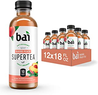 Bai Iced Tea, Narino Peach, Antioxidant Infused Supertea, Crafted with Real Tea (Black Tea, White Tea), 18 Fluid Ounce Bot...