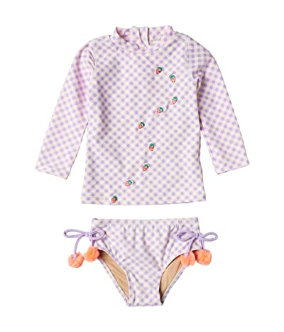 shade critters Two-Piece Rashguard Set in Gingham (Infant/Toddler) (Purple) Girl