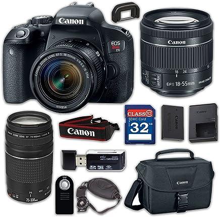 $749 Get Canon EOS Rebel T7i Digital SLR Camera & EF-S 18-55mm f/4-5.6 is STM Lens, EF 75-300mm f/4-5.6 III - Built-in Wi-Fi with NFC, with 32GB Class 10 Memory Card, Wireless Remote & 100ES Shoulder Bag