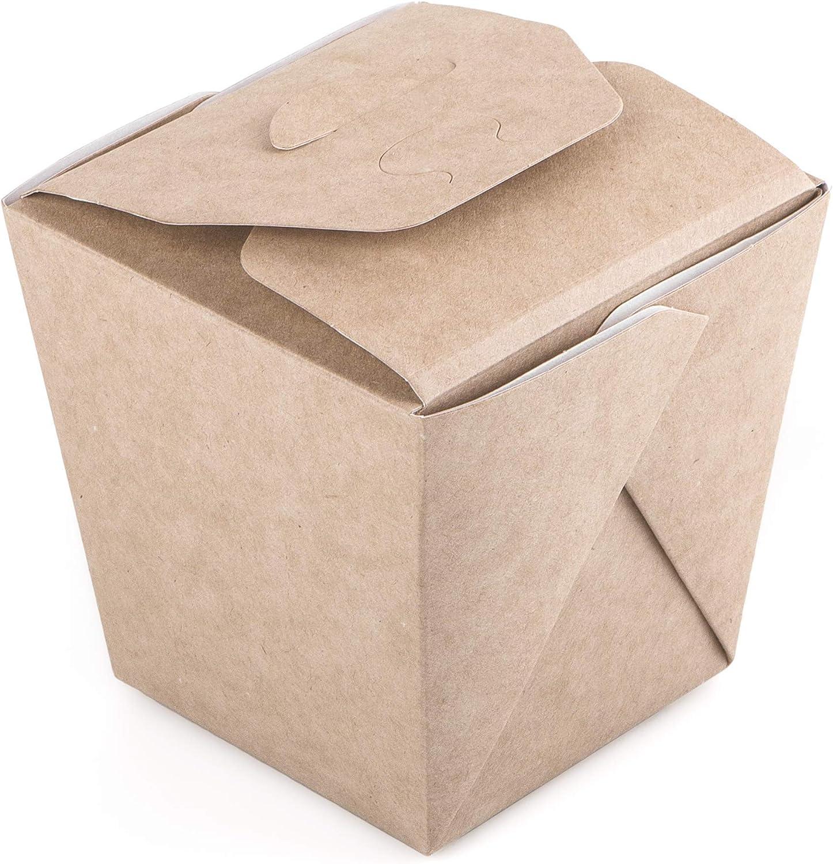 Paquete de 35 cajas de fideos de cartón Kraft 460 ml Contenedor de alimentos para llevar comida rápida desechable china, a prueba de fugas, biodegradable, ecológica, reciclable (35, 460 ml)