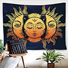 Psychedelic Tapestry Indian Moon and Sun with Many Fractal Faces Tapestry Celestial Energy Mystic Tapestries Wall Hanging Tapestry for Bedroom Living Room Dorm