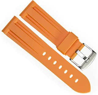 New 24mm Soft Rubber Strap Orange Diver Watch Band fits PANERAI with Brush Stainless Buckle